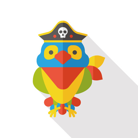 macaw parrot: Pirate Parrot flat icon Illustration