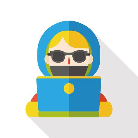 using: girl using computer flat icon Illustration