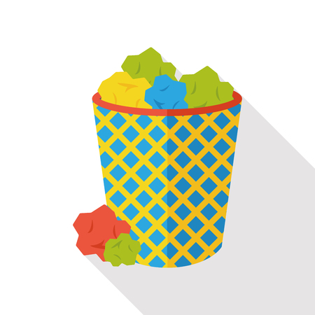 garbage can: garbage can flat icon Illustration