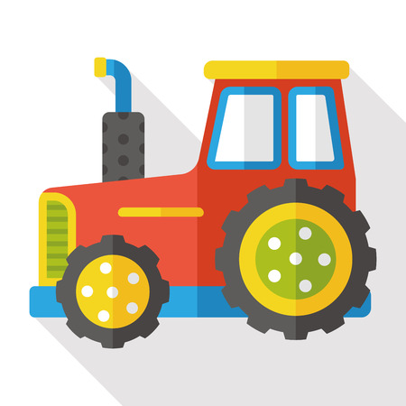 tractor sign: farm bulldozer flat icon