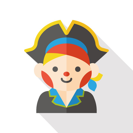 pirate captain: pirate character flat icon Illustration