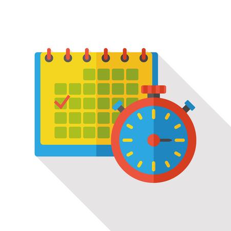 calendar icon: stopwatch and calendar flat icon
