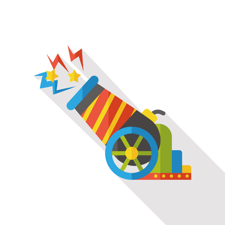 cannonball: circus cannon flat icon Illustration