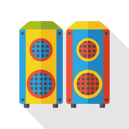 equipo de sonido: música en estéreo icono plana Vectores