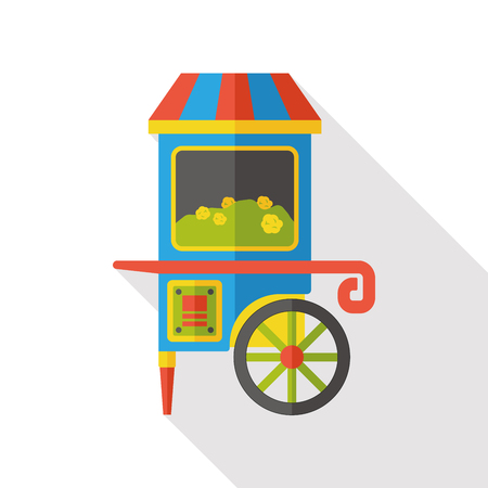 snack: amusement snack cart stand flat icon