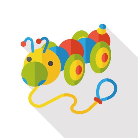 gusano caricatura: toy Caterpillar flat icon Vectores