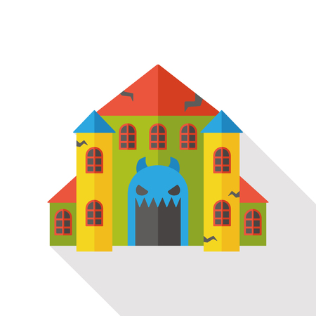 note paper background: ghost house flat icon Illustration