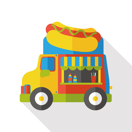 Hot dog dining car flat icon