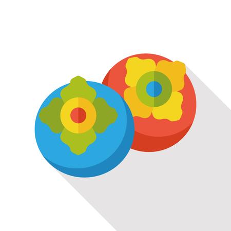 persimmon: persimmon fruits flat icon Illustration