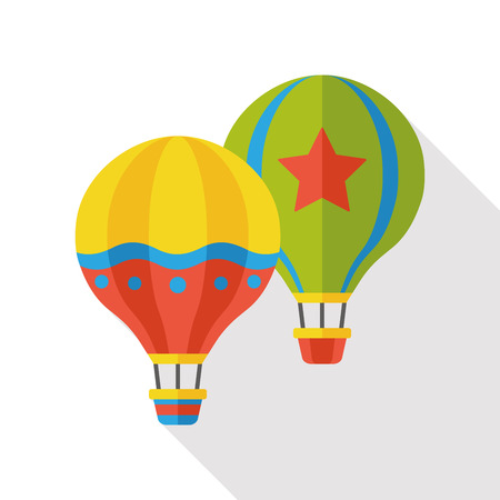 hot background: hot air balloon flat icon