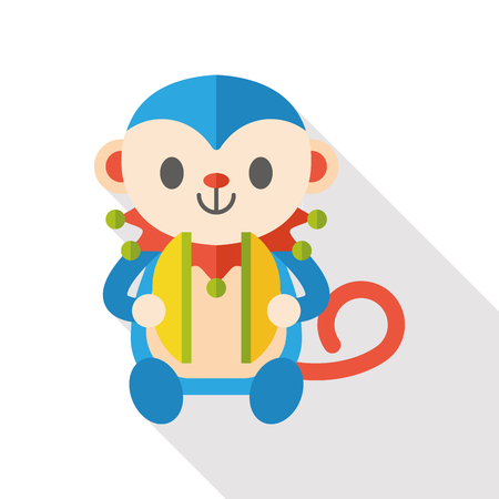 Cymbals: toy monkey flat icon Illustration