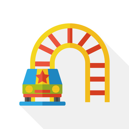coaster: amusement park roller coaster flat icon