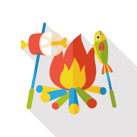 fire icon: camping fire flat icon