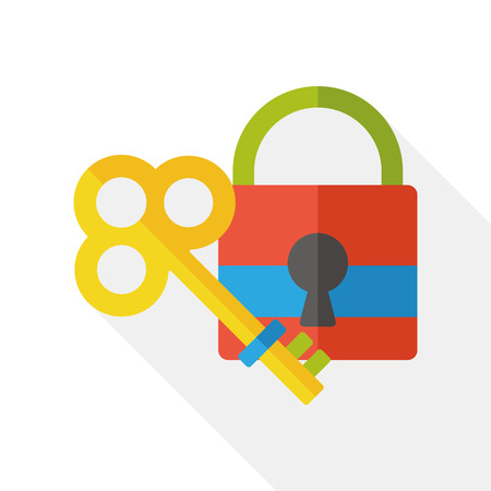 lock and key: key lock flat icon Illustration