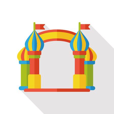 entrance: amusement park gate flat icon Illustration