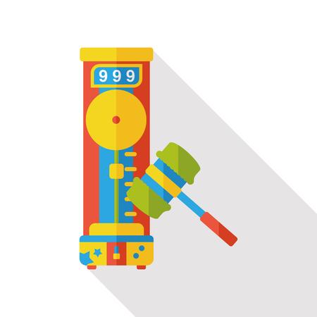 amusement park hammer game flat icon Stock Illustratie