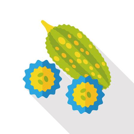bitter: vegetable Bitter Melon flat icon Illustration