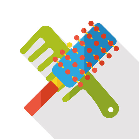 animal hair: clean comb flat icon Illustration