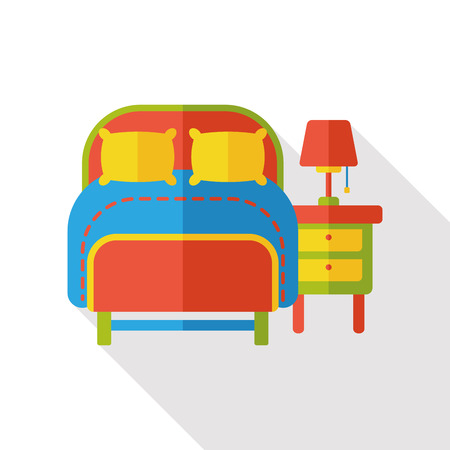 hotel bed: hotel bed flat icon Illustration