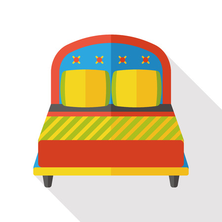 bedroom: hotel bed flat icon Illustration