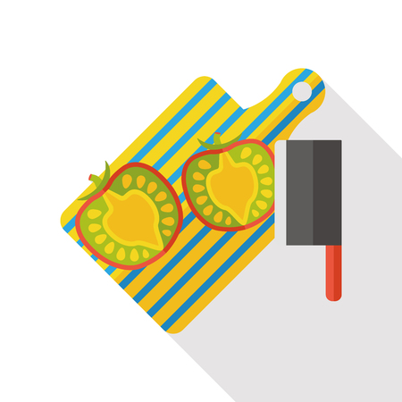 chef knife: chopping board tomato flat icon