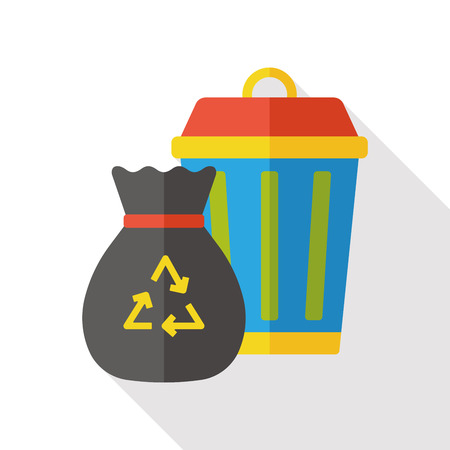trash basket: garbage can flat icon Vectores