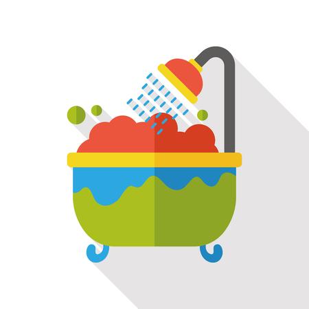 washing bathtub flat icon 向量圖像