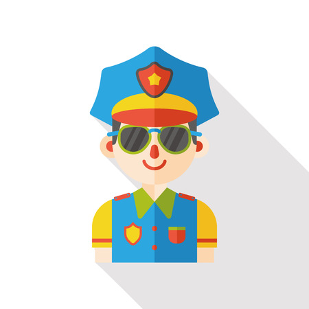 police girl: policeman occupation character flat icon