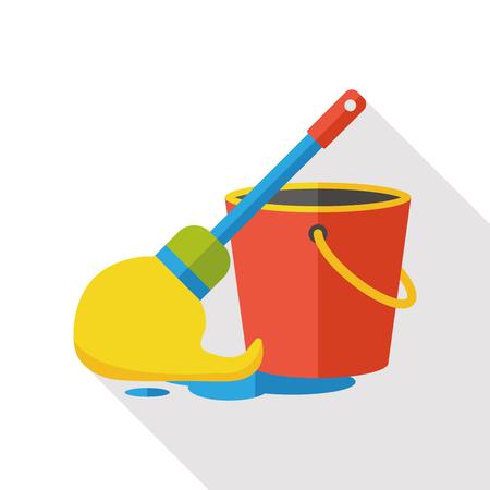 zwabber: reiniging mop flat icon Stock Illustratie