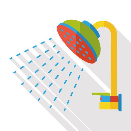 showering: bath Showerhead flat icon Illustration