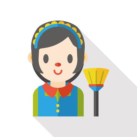 mucama: la limpieza de la criada icono plana