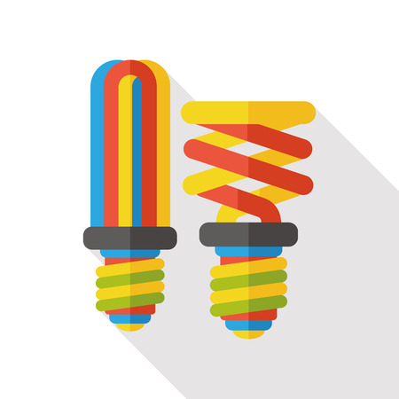 fluorescent lamp: energy bulb flat icon