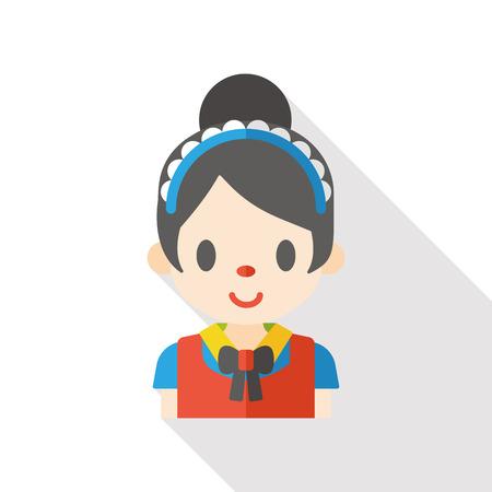 mucama: mujer de limpieza icono plana Vectores