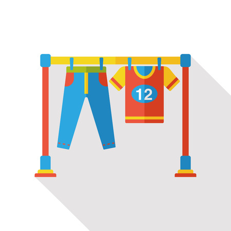 washing clothes: washing clothes flat icon Illustration