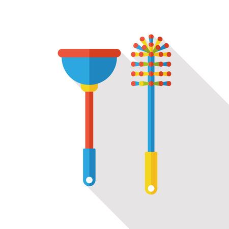 inodoro: desatascador de inodoros y cepillo icono plana