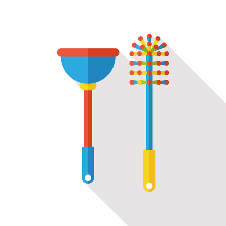 toilet icon: Toilet plunger and brush flat icon
