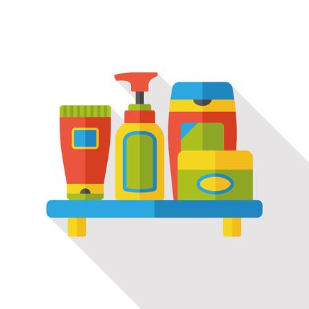 bodies of water: washing shampoo flat icon Illustration