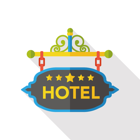 bedroom: hotel sign board flat icon Illustration