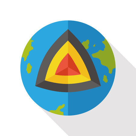 geological: earth core flat icon Illustration