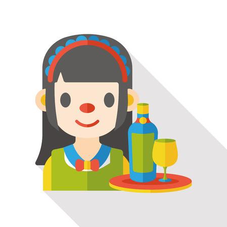 hospitality staff: maid waitress flat icon