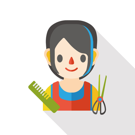 hairstylist: hairstylist occupation character flat icon