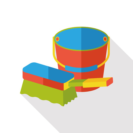 sponge and water bucket flat icon