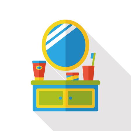 washstand: mirror sink flat icon