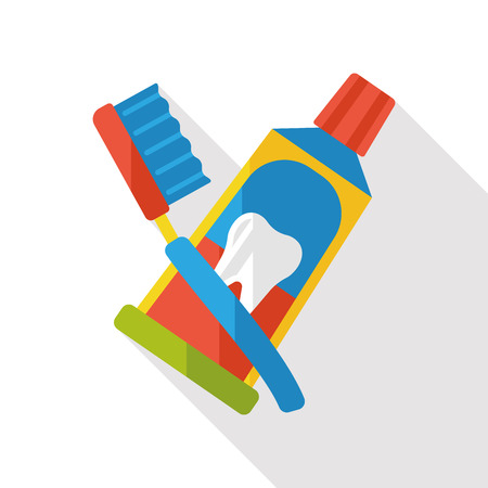 paste: tooth paste and tooth brush flat icon Illustration