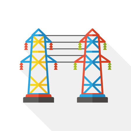 cell tower: Antenna base station flat icon Illustration