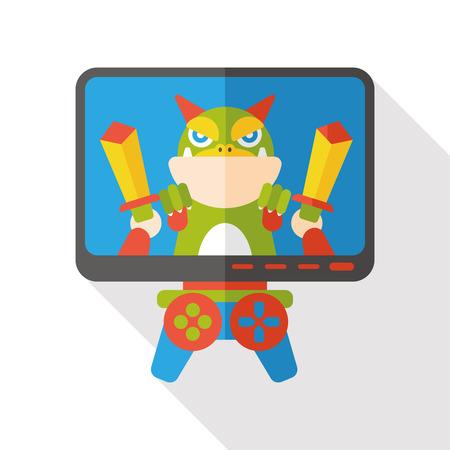 ビデオゲーム フラット アイコン  イラスト・ベクター素材