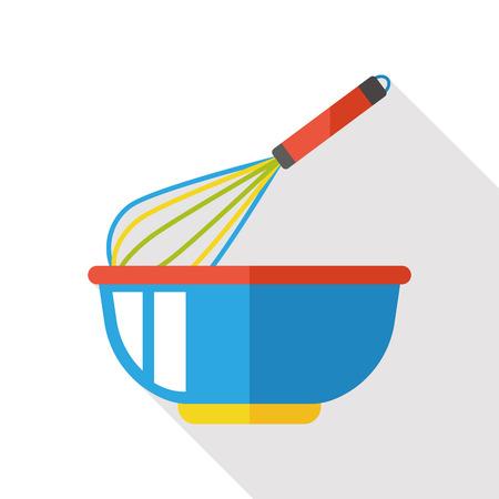 Eggbeater und Schüssel flach Symbol Vektorgrafik