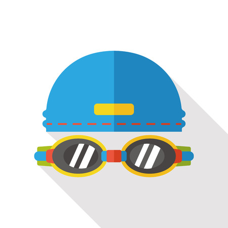 Goggles and swimming cap flat icon Stock Illustratie