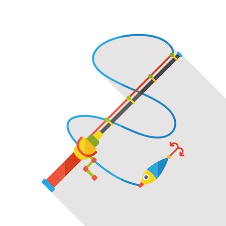 symbol sport: Fishing rod flat icon