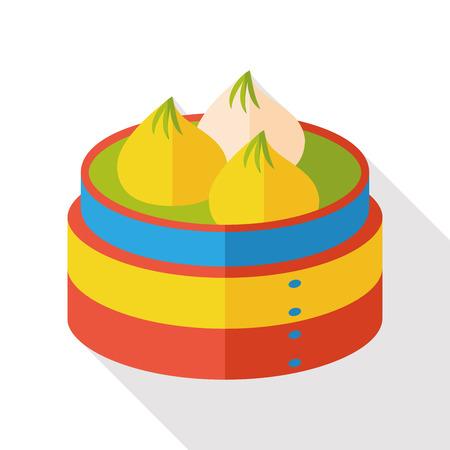 dim: steamed stuffed bun flat icon